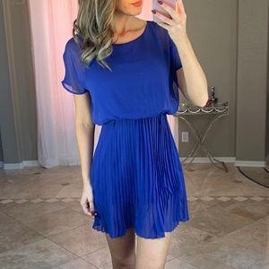 Lush Blue Crepe Pleated Short Sleeve Mini Dress XS